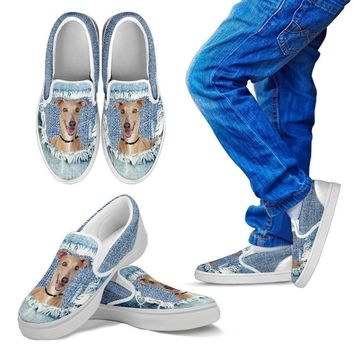 Italian Greyhound Dog Print Slip Ons For Kids-Express Shipping