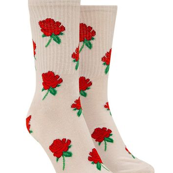 Rose Graphic Crew Socks