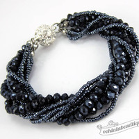 Dark gray Multi strand Crystal bracelet gray beaded jewelry multistrand bracelet charcoal crystal bracelet sparkly evening bracelet gift