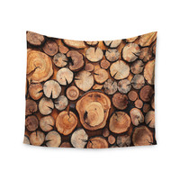 "Susan Sanders ""Rustic Wood Logs"" Brown Tan Wall Tapestry"