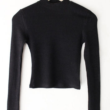 Ribbed Long Sleeve Crop Top
