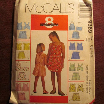 Sale Uncut 1998 McCall's Sewing pattern, 9369! 3-4-5 Toddler/Girls Halter Tops/Tank Tops/Criss-Cross Back/Pull-On/Short Sleeve Shirts/Tops