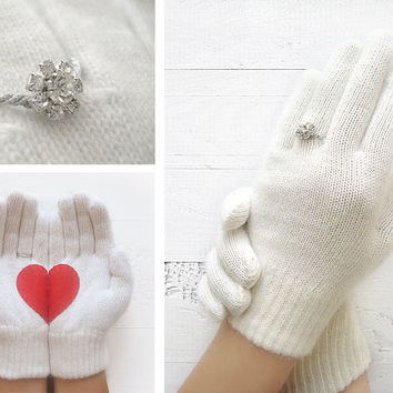 VALENTINE'S DAY Gift, Ring Gloves, White Gloves, Wedding Proposal, Special Gift, Valentine Gift, Lover Gift, Gift For Her, Women, Unique