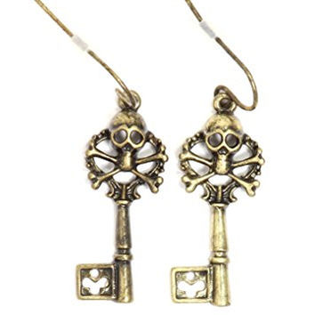 Skull and Crossbones Treasure Key Earrings Gold Tone Pirate Skeleton Dangle EH53 Fashion Jewelry