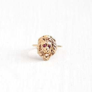 Sale - Antique 14k Yellow Gold Lion Created Ruby & Seed Pearl Ring - Vintage Victorian