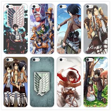 Cool Attack on Titan Anime  Eren Levi Mikasa Soft TUP Silicone Mobile Phone Case for iPhone X 10 7 6 6s 8 Plus 5 5S SE 5C 4 4S Cover AT_90_11
