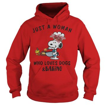 Snoopy Just A Woman Who Loves Dogs And Baking Shirt Hoodie