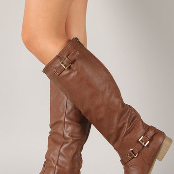 Coco-1X Buckle Riding Knee High Boot