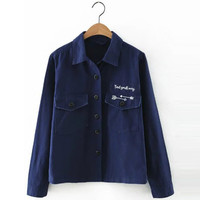 Deep Blue Single Breasted Jacket with Pockets