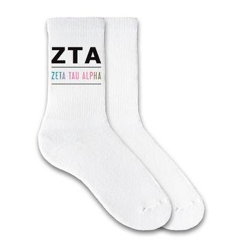 Zeta Tau Alpha Rainbow Greek Letter Crew Socks