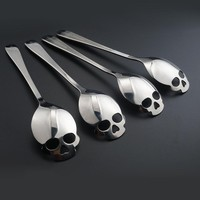 Skull Shape Stainless Steel Coffee Spoon Flatware Dessert Ice Cream Candy Sugar Teaspoons Tableware Dinnerware Kitchen Supplies