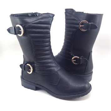 Black Vegan Leather Boot with Quilt and Buckle Design