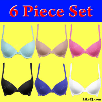 6pack Solid front close coverage bra lace overlayed band for support Bra #8973