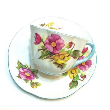 Shelley Tea Cup and Saucer, Dainty Shape with Begonia Pattern, Light Blue Rims & Handle, English Bone China, Vintage Tea Cup
