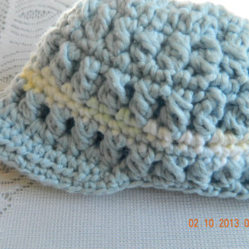Boys Newsboy Cotton Cap Crocheted in Blue Bernat Cottontots, photo prop/beachhat/bucket hat/Newborn/FREE Shipping