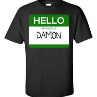 Hello My Name Is DAMON v1-Unisex Tshirt