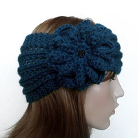 FREE SHIPPING,Hand Knitted Lace Headband with Crochet Flower in Blue,Handmade Headband,Trendy Headband,Lace Earwarmer,Knit Women Accessory