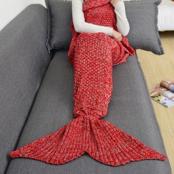 ESB2N Winter Spring Warm Handmade Knitted Mermaid Sofa Blanket Home Baby Children Adult Red Tagre-