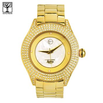 Jewelry Kay style Men's CZ Bling Bling Fashion 14k Gold Plated Metal Band Hip Hop Watch WM 8004 G