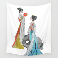 Two ancient Chinese beauties Wall Tapestry by Color and Color