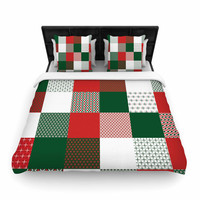 """Carolyn Greifeld """"Holiday Patchwork"""" Red Green Woven Duvet Cover"""
