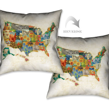 Vintage Travel Maps Indoor Decorative Pillow