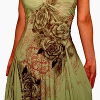FUNFASH WOMENS PLUS SIZE COCKTAIL DRESS SAGE GREEN BLACK FLORAL PLUS SIZE DRESS