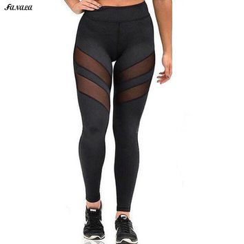 Women's High Waist Skinny Mesh Hollow Out Patchwork Leggings