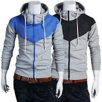 Funnel Neck Zip Up Color Contrast Mens Fashion Hoodie