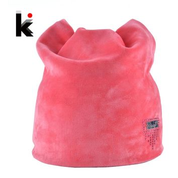2017 Winter Beanie Hat Ladies Cat Girls Hats For Women Beanies Fluff Caps Russia Skullies Touca Cap With Ear Flaps