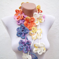 Handmade crochet Lariat Scarf  Yellow Lilac Blue Orange White Flower Lariat Scarf Colorful Variegated Long Necklace Winter Fashion