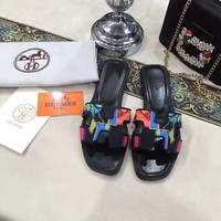 Oasis Hermes Women Fashion printing Casual Shoes Flat Sandal Slipper Heels Colorful