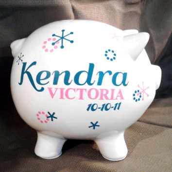 Confetti Piggy Bank with Personalized Vinyl Decal