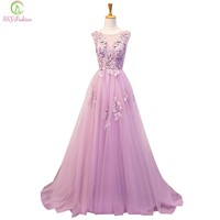Evening Dress the Bride Banquet Sweet Taro Purple Lace Flower Sleeveless Floor-length Party Gown Prom Dress