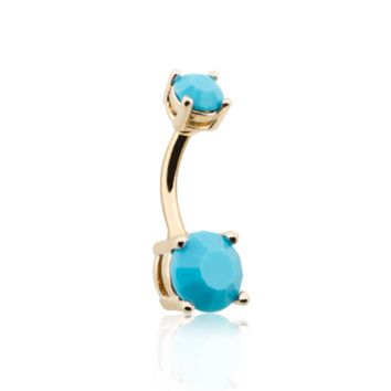 Turquoise Brilliant Gem Gold Prong Set Belly Button Ring 14ga Navel Ring Body Jewelry