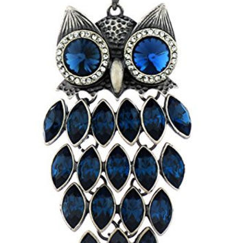 Neoglory Blue Crystal Made with Swarovski Elements Vintage Owl Pendant Necklace Charm Jewelry 35.4""