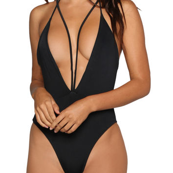 Black One Piece Black Cutout Beach Swimsuit