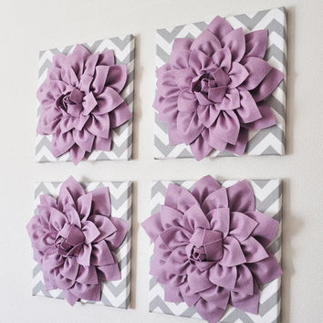 "MOTHERS DAY SALE Wall Decor -Set Of Four Lilac Dahlias on Gray and White Chevron 12 x12"" Canvases Wall Art- 3D Felt Flower"