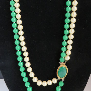Green & Cream Necklace, Vintage Double Strand Faux Pearl Beaded Necklace