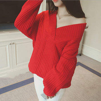 Loose solid color bat sleeve knit sweater