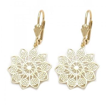 Gold Layered 5.121.018 Dangle Earring, Flower Design, Diamond Cutting Finish, Tri Tone