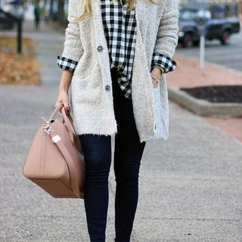 White Single Breasted Pockets Draped Casual Cardigan Knitted Coat