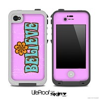 The Pink Brown Blue Believe Vintage V2 Skin for the iPhone 4 or 5 LifeProof Case