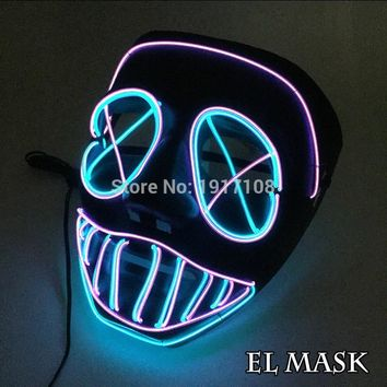 2018 New Halloween Mask Flashing EL wire Glowing Mask Flexible LED Neon light For dance DJ Bar Carnival Party Decoration