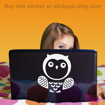 Mr Owl (Laptop Decal Removable Vinyl Laptop Sticker Computer Decal Apple Macbook Mac Geekery Wall Nature)