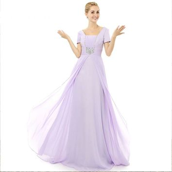 Elegant Chiffon A Line Scalloped Open Back Short Sleeves Beads Long Prom Dresses Floor Length Prom Gowns