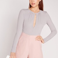 Missguided - Keyhole Front And Back Rib Bodysuit Grey
