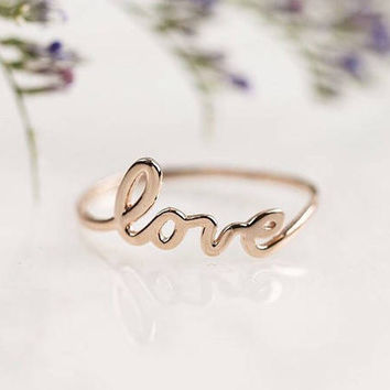 Rose gold love ring, 14k solid rose gold love ring, script love ring, dainty thin cute 14k rose gold script ring, Love jewelry, scr-rlov