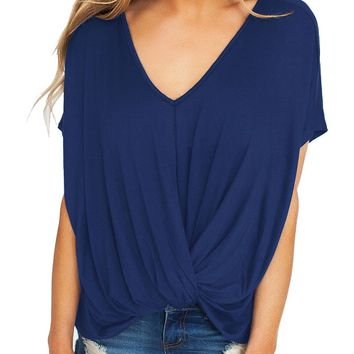 Chicloth Blue Draped Front Knot Top
