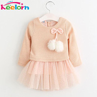 Keelorn Baby Girl Dress 2017 New Casual Autumn Baby Clothes Long Sleeve Plaid Bear Straps